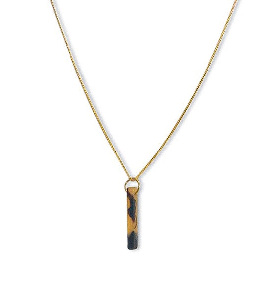 Amber Tortoise Bar Necklace - meghan-bo-designs