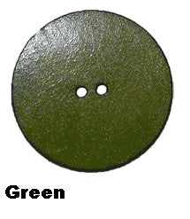"2"" Leather Button - Green"