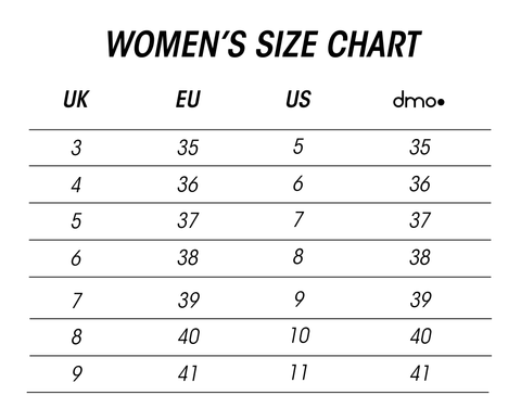 dmodot sizing chart for women