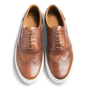 dmodot tan leather brogue sneakers