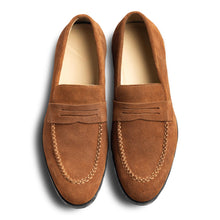 Tobacco suede penny loafers