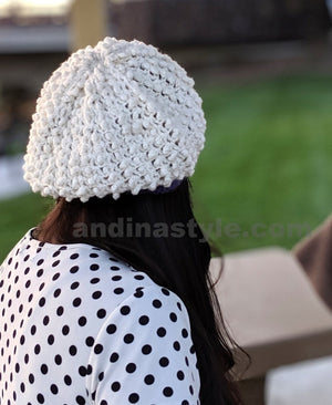 Women's Alpaca Handmade Hat Off White
