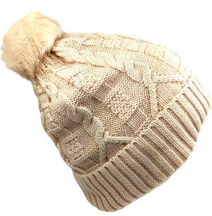 Pom-Pom Hat High Quality Tuscan Beige Color