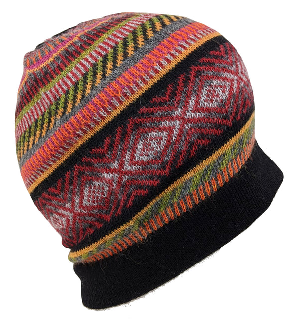 Alpaca Beanie Hat  Black Multi-Color