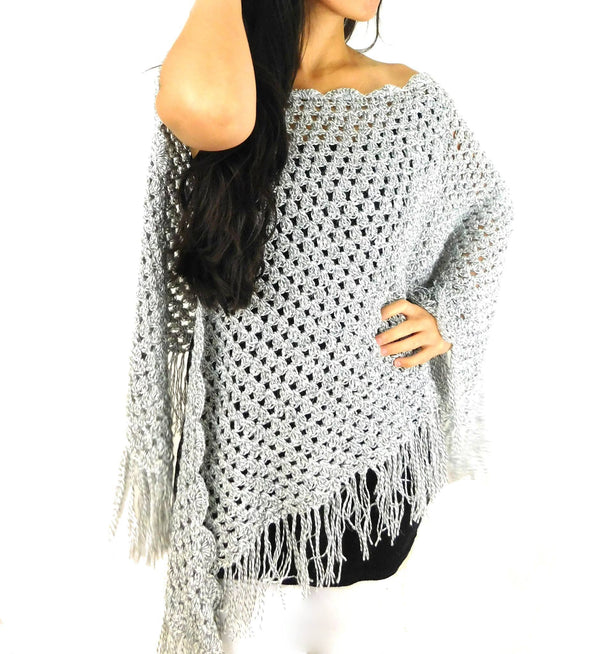 Alpaca Shawl Handmade Gray Color