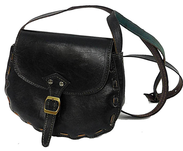 Handmade Black Leather Shoulder Bag