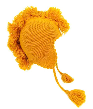 Men or Women's Beanie Ear-Flap Yellow Alpaca Wool