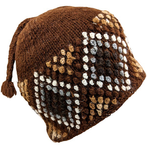 Handmade Alpaca Beanie Brown Multi
