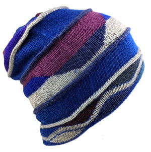 Alpaca Beanie Blue Multi Color