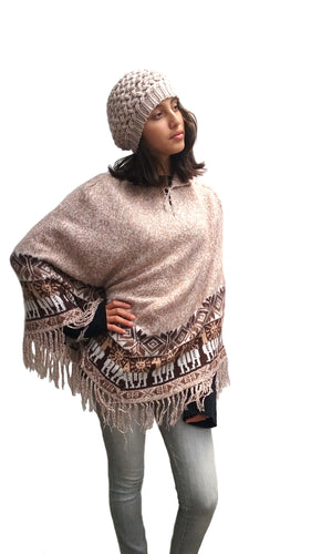 Alpaca Shawl One Size Regular Poncho Shawl #TT014D