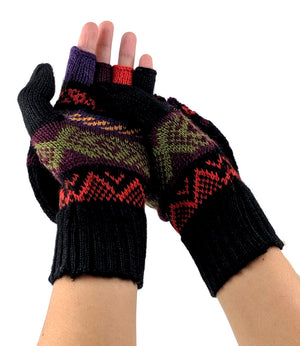 Alpaca Convertible Mittens - Black Multi