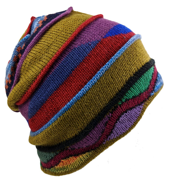 Alpaca Beanie Geometric Design Multi Color