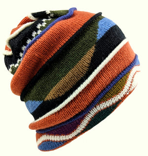 Alpaca Striped Beanie Hat