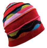 Beanie Alpaca Red Multi-Color One Size