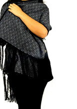 Load image into Gallery viewer, Alpaca Wrap Geometric Shawl (Black) #00336