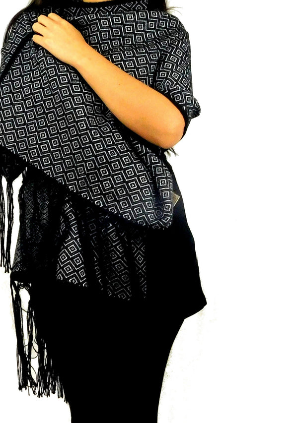 Alpaca Shawl Wrap Black