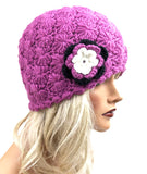Alpaca Crochet Flower Beanie Hat Light Pink