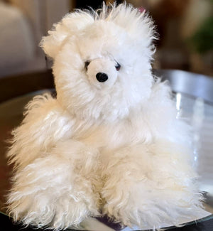 Fur Teddy Bear - Handmade 13 Inch White Color