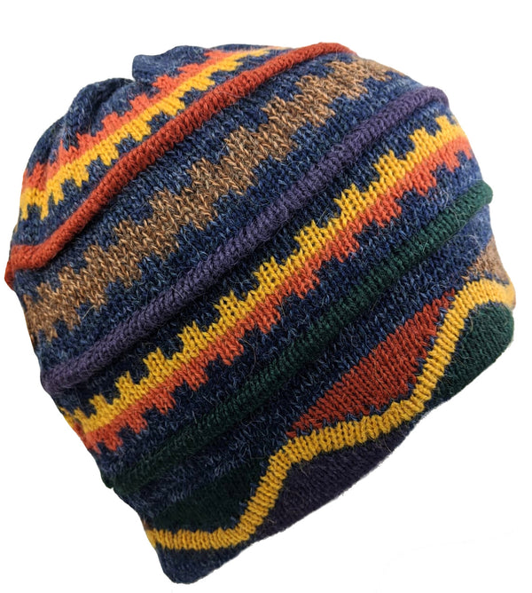 Beanie Hat Navy Multi-Color