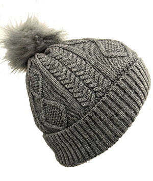 Pom-Pom Hat High Quality Gray Color