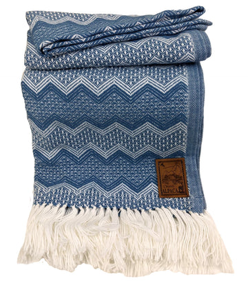 Alpaca Wool Throws Agean Blue