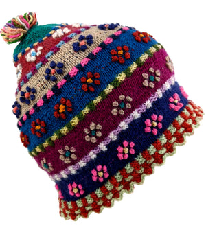 Multi Color Beanie Handmade Floral Hat