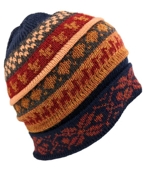 Alpaca Beanie Navy Blue Multi