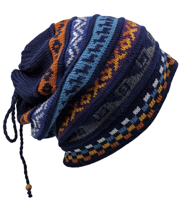 Alpaca Beanie Navy Blue Multi One Size