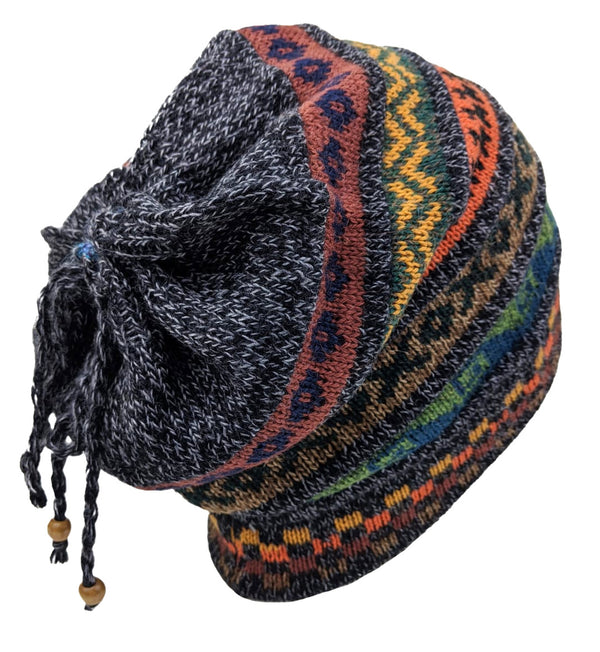 Alpaca Beanie Charcoal Multi One Size