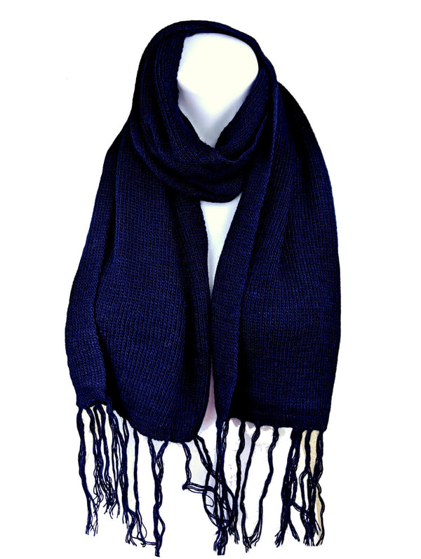 Alpaca Fringe Short Scarf Navy Color