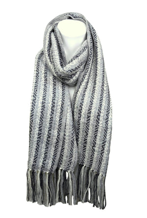 Alpaca Fringe Scarf  Gray Color