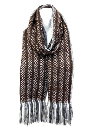 Alpaca Brown Fringe Scarf