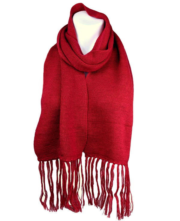 Alpaca Wool Fringe Scarf (Red)