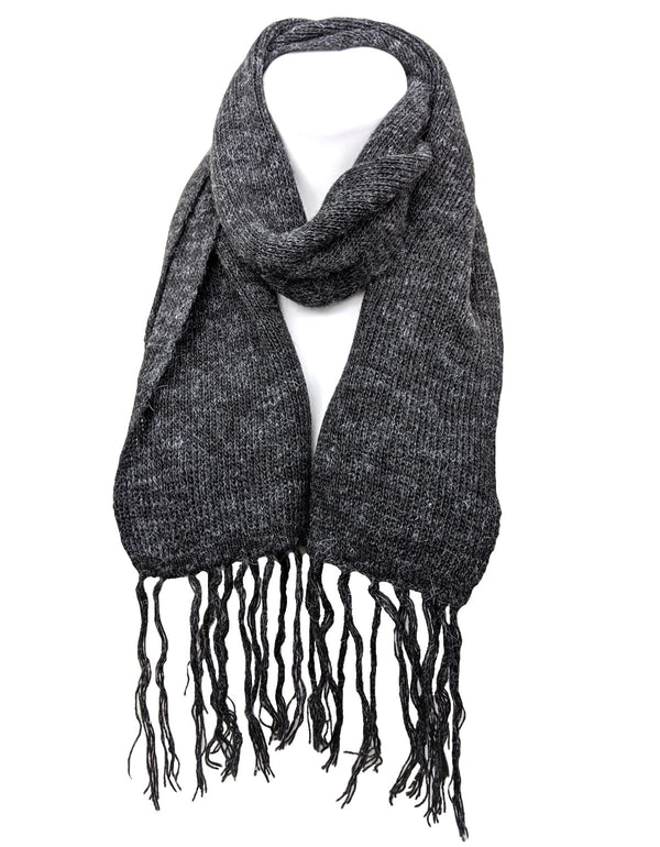 Alpaca Fringe Short Scarf Gray Color