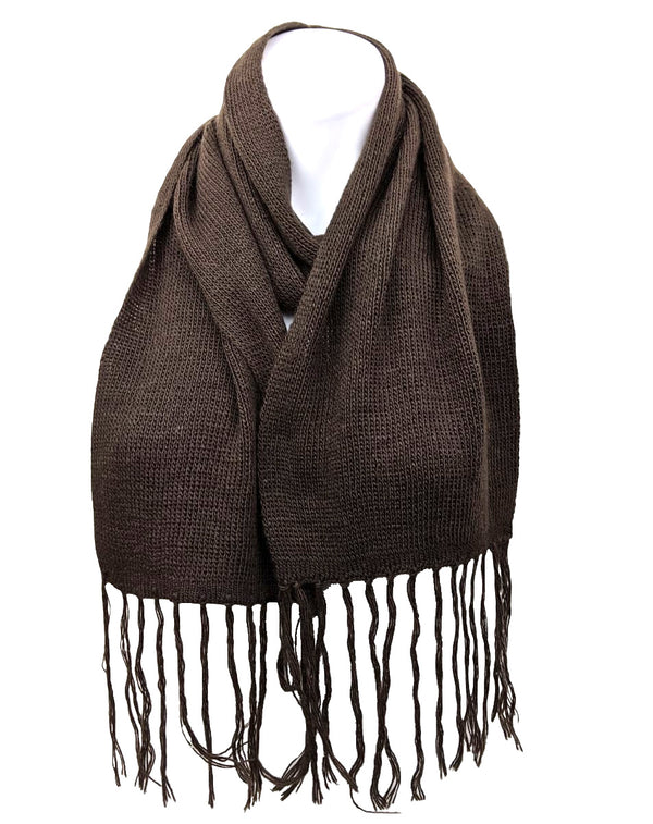 Alpaca Fringe Short Scarf Brown Color
