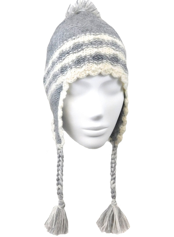 Handmade Beanie Gray Color Ear-Flap Hat
