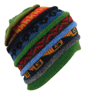 Men or Women's Alpaca Inca Beanie Hat Multi Color