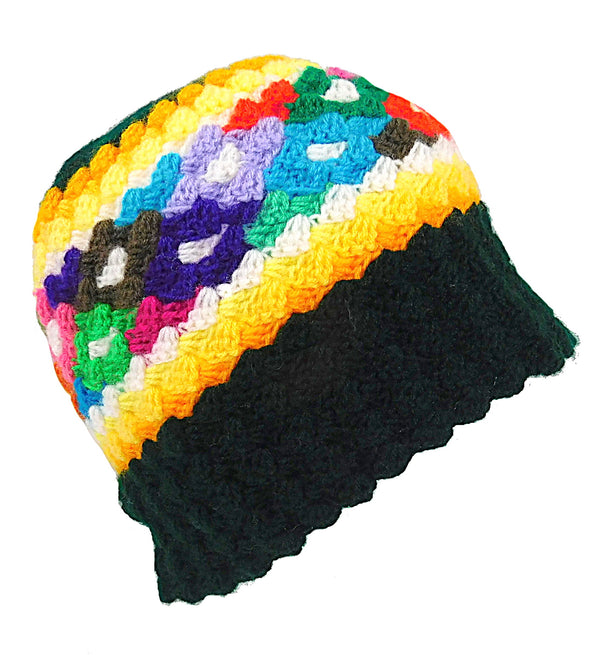 Acrylic Handmade Beanie Green Multi Color Hat