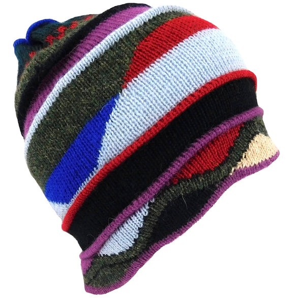 Alpaca Hat Multi Color Geometric Design