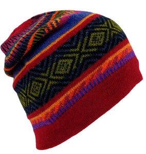 Alpaca Beanie Hat Red Multi #001223