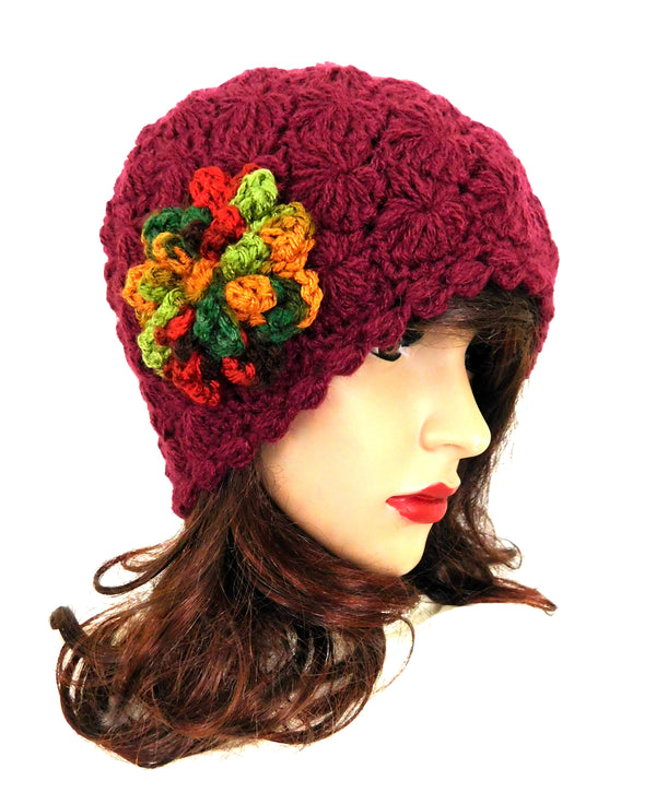 Crochet Beanie  Multi-Color Flower Hat One Size