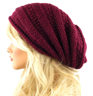 Red Burgundy Beanie Slouchy Hat