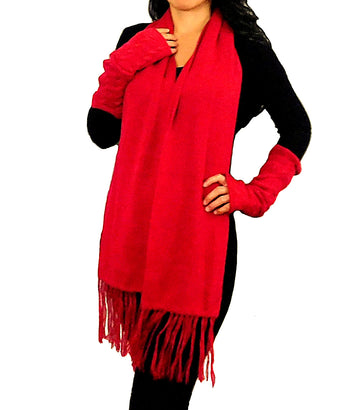 Alpaca Finger-Less Gloves & Alpaca Scarf Set (Red)