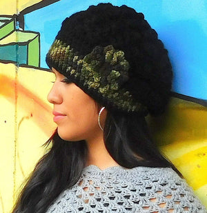 Beanie Black Flower Hat Large