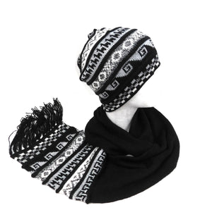 Beanie - Scarf One Piece Alpaca Black Color