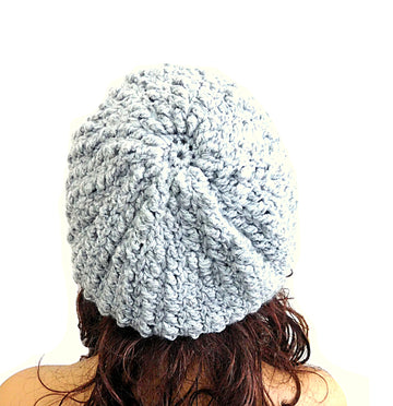 Alpaca Beret Slouchy Light Gray Color