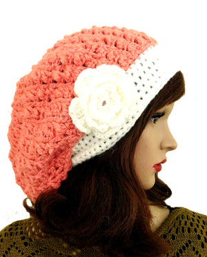 Alpaca Crochet Flower Beanie Coral Color