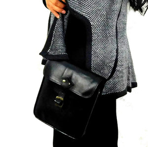 Handmade Leather Black Shoulder Bag #L0310