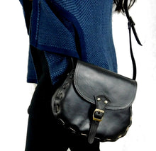 Load image into Gallery viewer, Black Leather Shoulder Bag