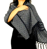 Alpaca Wrap Geometric Shawl (Black)